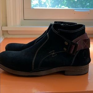 Fly London Black Nubuck Ankle Booties Size 38